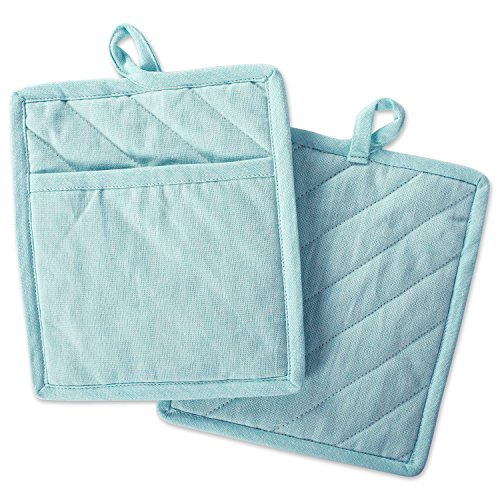 DII Cotton Chambray Pot Holders with Pocket, 9x8 Set of 2, Machine Washable and Heat Resistant Pocket Mitts for Kitchen Cooking and Baking-Aqua ()