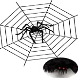 40in Large Halloween Plush Spider and 11.8ft Black Spider Web for Outdoor Indoor Party Scary Decoration