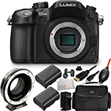 Panasonic Lumix DMC-GH4 Mirrorless Micro Four Thirds Digital Camera with Metabones T Speed Booster Ultra 0.71x Adapter for Canon Full-Frame EF-Mount Lens to Micro Four Thirds-Mount Camera 10PC Bundle. Includes 2 Replacement BLF19 Batteries + MORE