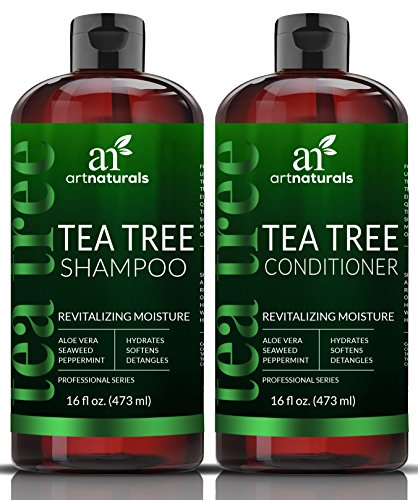 ArtNaturals Tea Tree Oil Shampoo And Conditioner Set 2 X 16oz Sulfate Free Made With Therapeutic Grade Tea Tree Essential Oil Deep Cleansing For Dandruff Dry Scalp Itchy Hair Men Women