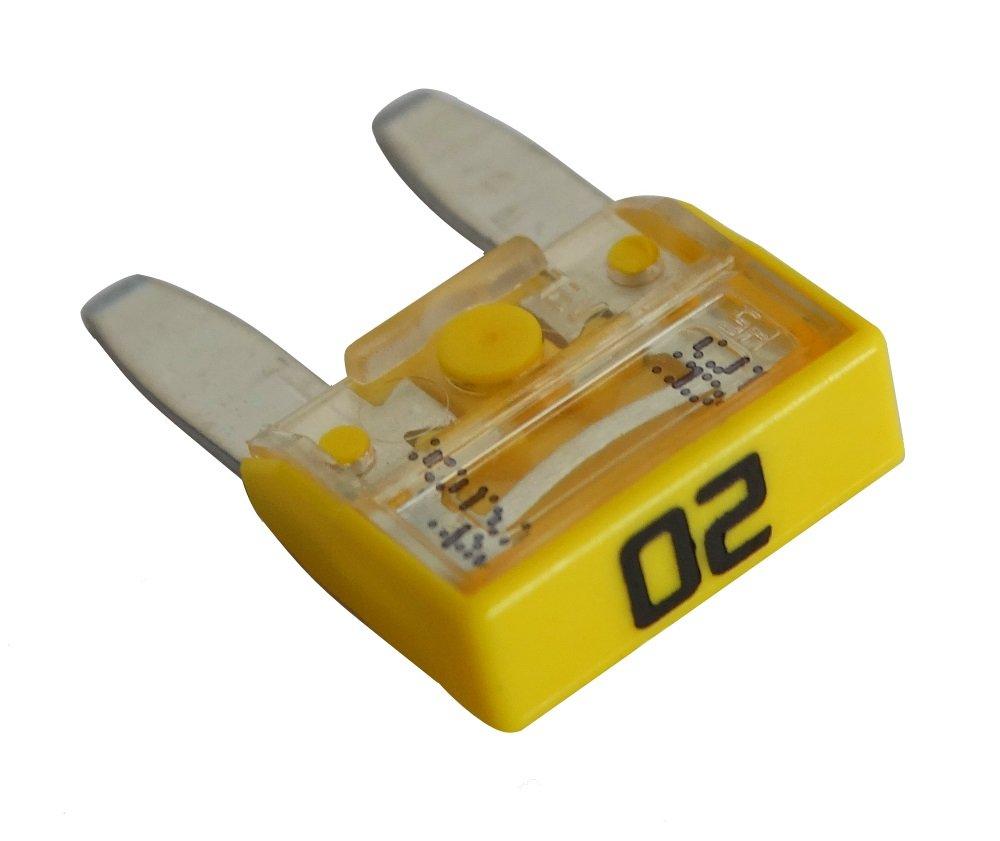 Aerzetix - 10 fusibile 20A mini 11.9 mm giallo 6V 12V 24V 36V per moto, auto, camion , peso pesante . SK2-C10287-KU1K26