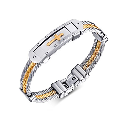 Mens Stainless Steel Cross ID Bracelet Bangle Two Tone Cable Rope Twist Chain,Gold and Silver