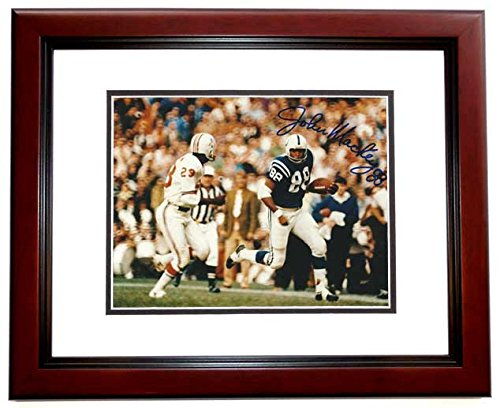 John Mackey Signed - Autographed Baltimore Colts 8x10 inch Photo MAHOGANY CUSTOM FRAME