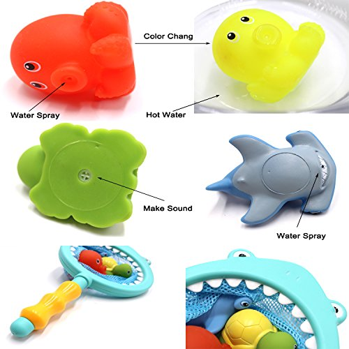 SPADORIVE Turtle Hippo Crocodile Hippocampus Fish 6 Pcs Sea Animal Bath Toy for Kids and Toddlers Floating Wind-up Bath Water Toys Bathtub Playset Clockwork Toy Kid Educational Water Toys Random Colors