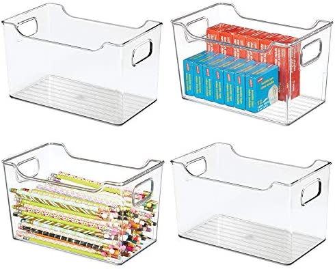 mDesign Large Plastic Home, Office Storage Organization Bin Basket with Handles – for Cabinets, Closets, Drawers, Desks, Tables, Workspace – Cube – 10″ Wide – 4 Pack – Clear