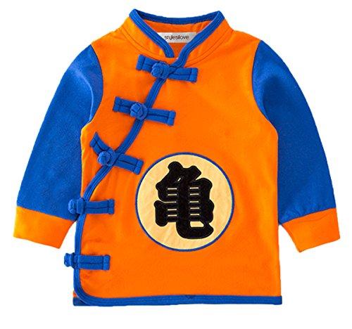 stylesilove Young Kids Baby Boys Traditional Chinese Inspired Long Sleeved Top Sweatshirt (100/2-3y, Goku Orange)