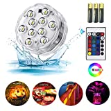 ZHUOFU Submersible led Lights,RGB Waterproof Underwater Lights Remote Control Hot Tub,Vase Base,Pond,Pool,Aquarium,Party,Fish Tank,Halloween,Christmas Decorations Lights 2pcs