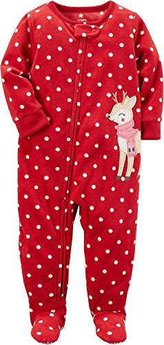 Carter s Baby Girls 1 Piece Footed Fleece Pajamas PJ Red Reindeer W Scarf 6M 854804735