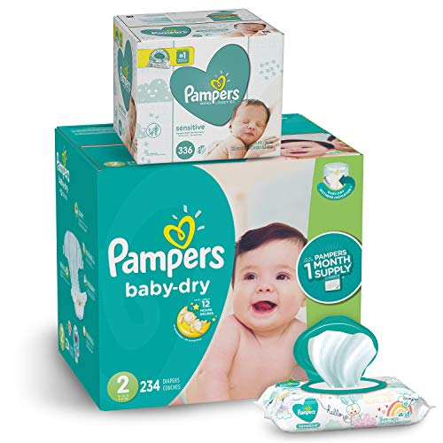 Pampers Diapers Size 2 - Baby Dry Disposable Baby Diapers, 234 Count ONE MONTH SUPPLY with Baby Wipes Sensitive 6X Pop-Top Packs, 336 Count