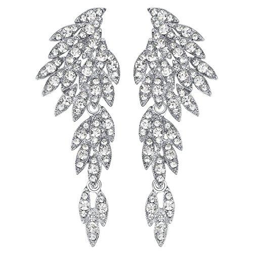 (mecresh Clear Crystal Wing Fashion Dangle Earrings for Women)