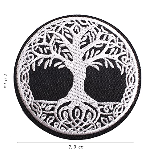 AXEN Yggdrasil The Tree of Life Patches Embroidered Iron on Badge Patches, Iron On Sew On Emblem Patches DIY Accessories, Pack of 2