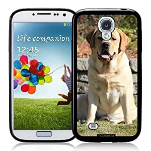 Cool Painting Labrador (Yellow) Dog Sitting - Protective Designer BLACK Case - Fits Samsung Galaxy S4 i9500
