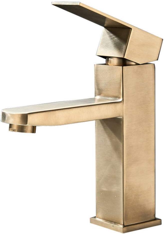 HSIYE Grifos Grifo de Lavabo de baño Negro Mate Montado en Cubierta Un Orificio Grifo Mezclador de Lavabo de Agua fría y Caliente Grifos de Lavado de Acero Inoxidable, Oro Cepillado B