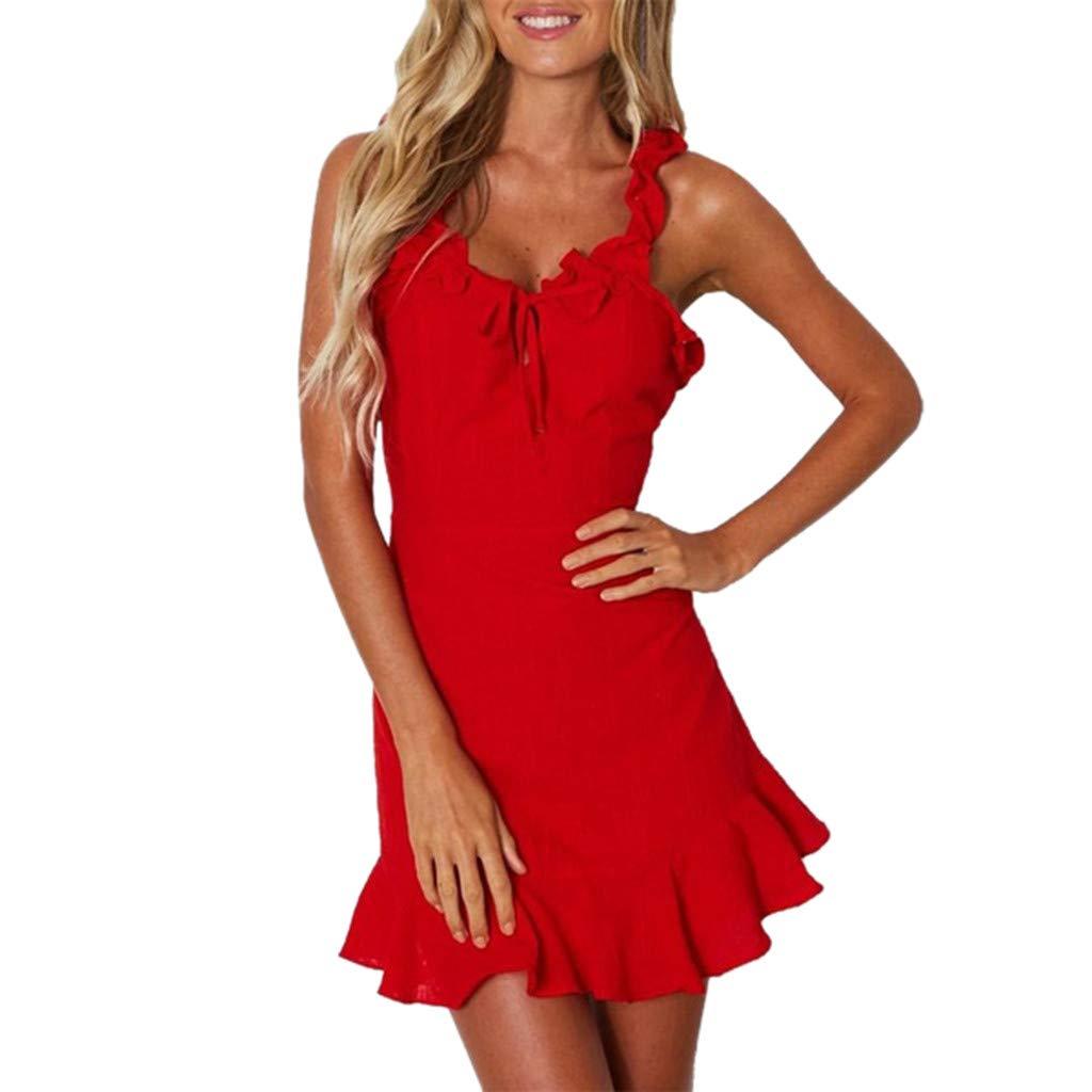 CixNy Damen Kleider Röcke Kurzarm Sommerkleider Strandkleid Sommer Art Und Weise Neu Ärmelärmel Pendler Abendmode Rot Weiß Tüllkleid S-XL