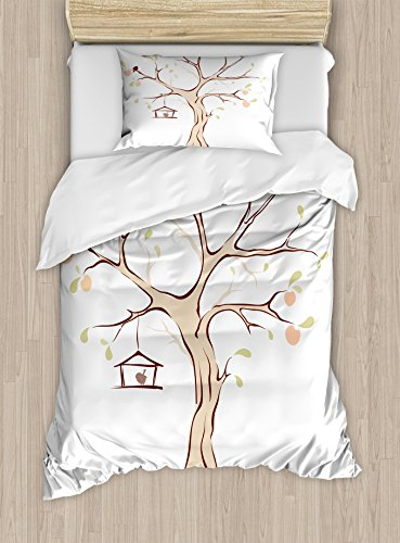 Ambesonne Tree of Life Duvet Cover Set Twin Size, Mature App