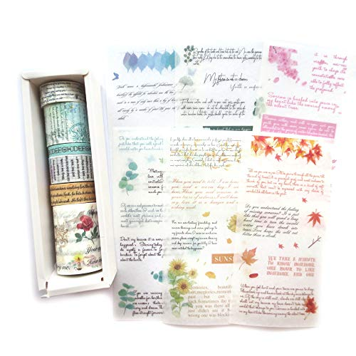 - DzdzCrafts 6 Rolls Flower Poem Words Phrase Washi Tapes and 6 Sheets Scrapbooking Stickers