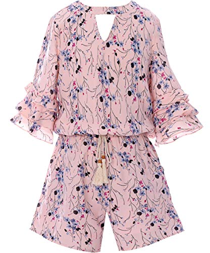 - Smukke, Big Girls Tween Tiered Ruffle 3/4 Sleeves Romper with Pockets, 7-16 (Pink, 16)