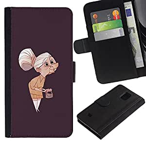Billetera de Cuero Caso Titular de la tarjeta Carcasa Funda para Samsung Galaxy S5 Mini, SM-G800, NOT S5 REGULAR! / Granny Old Lady Painting Art Clutch Grey Hair / STRONG