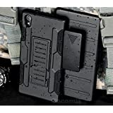 Cocomii Robot Armor Sony Xperia M4 Aqua Case NEW [Heavy Duty] Premium Belt Clip Holster Kickstand Shockproof Hard Bumper Shell [Military Defender] Full Body Dual Layer Rugged Cover for Sony Xperia M4 Aqua (R.Black)