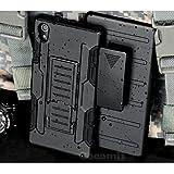 Sony Xperia M4 Aqua Case, Cocomii Robot Armor NEW [Heavy Duty] Premium Belt Clip Holster Kickstand Shockproof Hard Bumper Shell [Military Defender] Full Body Dual Layer Rugged Cover (Black)