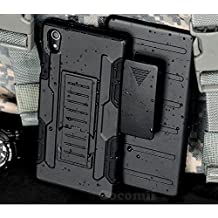 Sony Xperia M4 Aqua Case, Cocomii Robot Armor NEW [Heavy Duty] Premium Belt Clip Holster Kickstand Shockproof Hard Bumper Shell [Military Defender] Full Body Dual Layer Rugged Cover E2306 (Black)