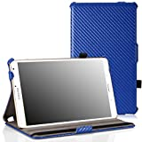 "MoKo Samsung Galaxy Tab S 8.4 Case - Slim-Fit Multi-angle Folio Cover Case with Auto Wake / Sleep and Stylus Pen Loop for Samsung Galaxy Tab S 8.4"" Tablet, Carbon Fiber BLUE (Will NOT Fit tab pro 8.4)"
