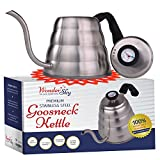 Premium Pour Over Coffee Kettle with THERMOMETER for Precise Temperature 40floz - Gooseneck Tea Kettle - 5 Cup Stainless Steel Teapot for Stovetop - FREE Silicone Hot Tea Kettles Coaster - Black 1.2L