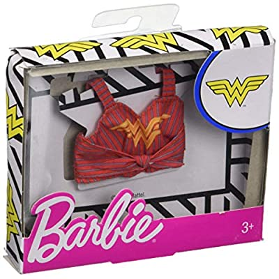Barbie Clothes: Wonder Woman Character Top Dolls, Red & Gold Striped Tank with Logo Graphic, Gift for 3 to 8 Year Olds: Toys & Games