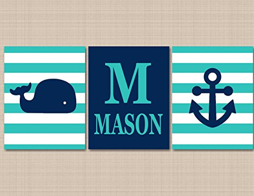 Nautical Nursery Décor,Whale Nursery Wall Art,Navy Aqua Nautical Nursery Art,Whale Anchor Wall Art,Nautical Boy Decor,Hamptons Whale Nursery Art-UNFRAMED Set of 3 PRINTS (NOT CANVAS) C310