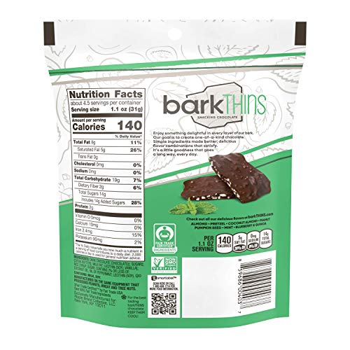 barkTHINS Snacking Dark Chocolate, Mint, 4.7 Ounce (single)
