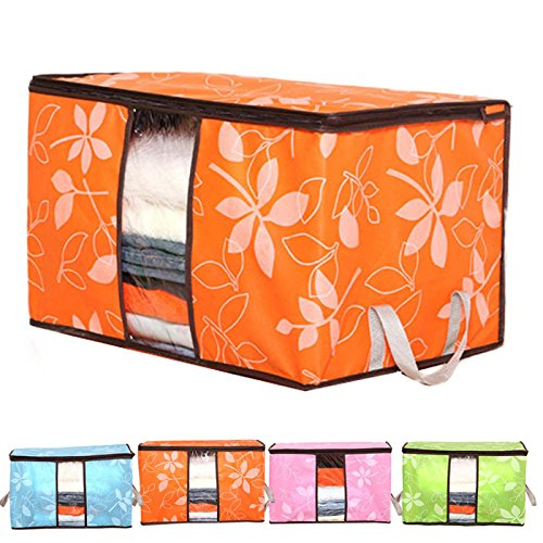 Vacuum Storage Bags Space Bags - Flowers Printed Non-woven Quilts Storage Boxes for home Organization Plus Size Finishing Storage Boxes with Windows Bags - Space Saver Bags(orange)