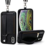 TOOVREN iPhone X/Xs Wallet Case Phone Lanyard Neck Strap iPhone Xs / 10 Protective Case Cover with Stand Leather PU Card Holder Adjustable Detachable iPhone Lanyard for Anti-Theft and Activity Black