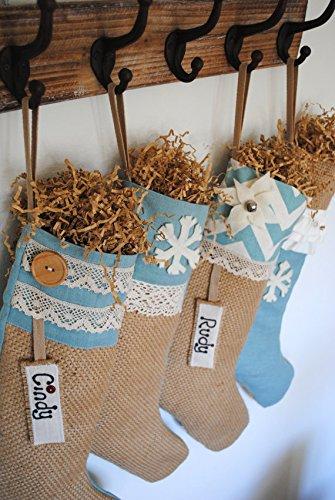4 Shabby Chic Burlap Christmas Stockings, Christmas decoration, burlap stocking