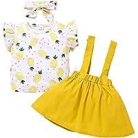 Bonfor 3 Piezas Ropa Bebe Niña Verano 1 año - 3 años Conjuntos Algodon 9-24 Meses, Camiseta de Floral + Falda de…