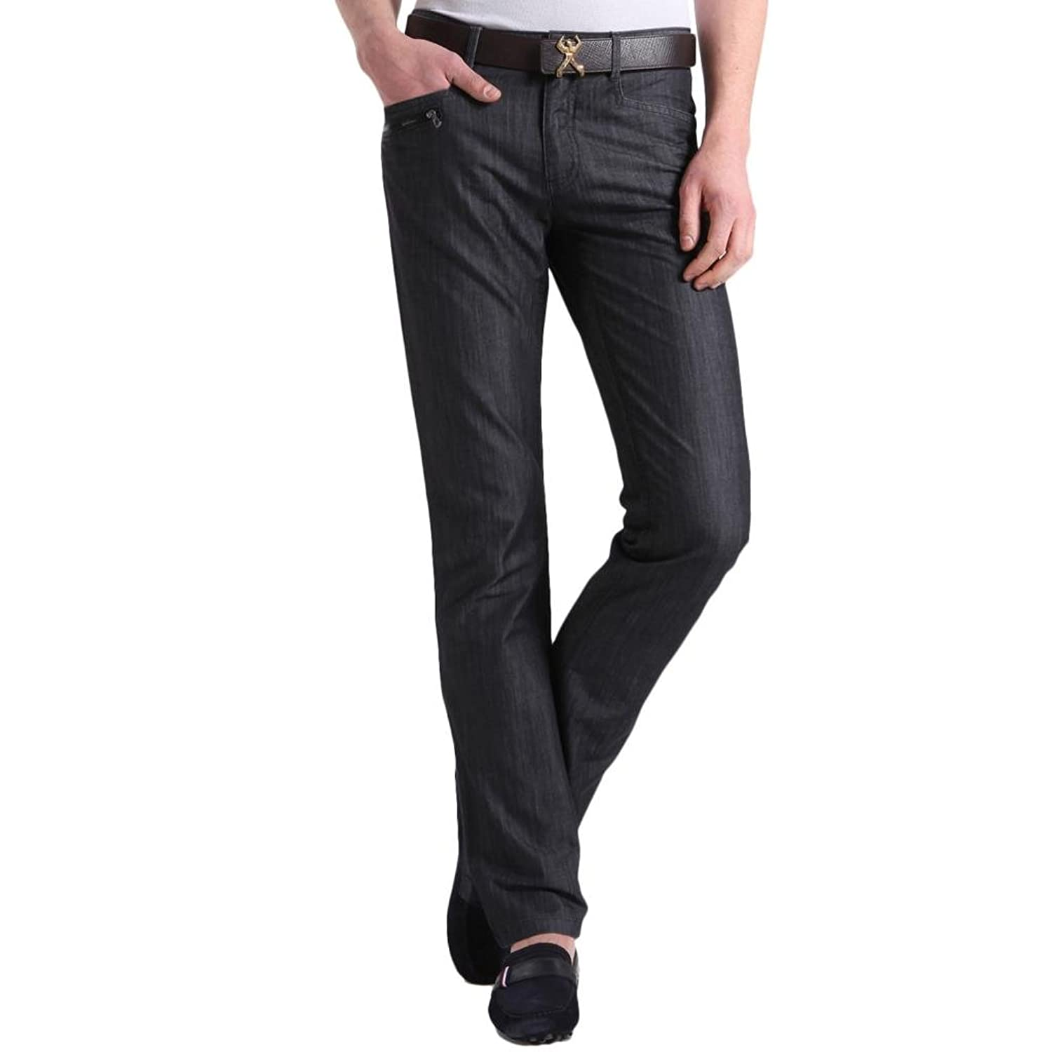 K-BOXING Men's Fall Plain Cotton Straight Solid Classic Denim Pants