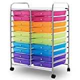 Mutli Color Rolling Scrapbook Paper Organizer School Office Studio Storage Cart w/ 20 Drawers with Ebook