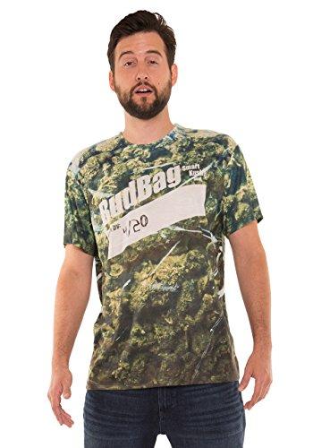 [Faux Real Men's Bag of Pot Printed T-Shirt, Green, M] (Bud Man Costume)