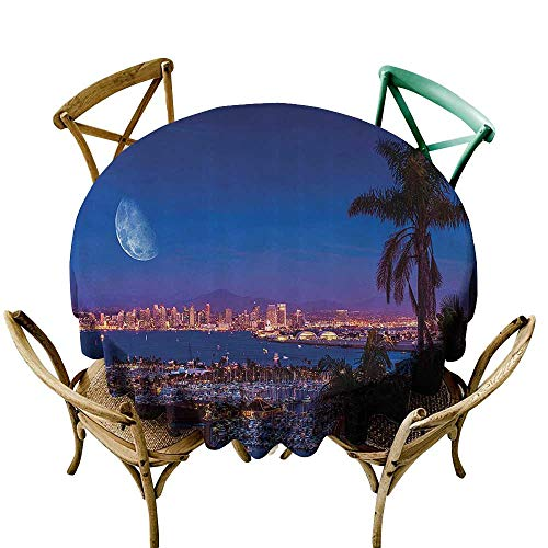 Round Outdoor Tablecloth Apartment Decor Collection San Diego California Night with Large Moon on The Horizon Yachts Panorama Picture Table Cover for Home Restaurant 50 INCH Navy Blue Ivory (Best Indian Restaurant San Diego)