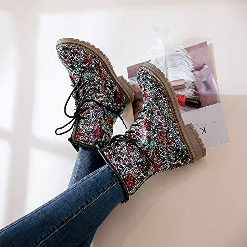 con alto Donna medio stampa con stile Kaiki da pelliccia tacco pizzo Shoes scarpe in in stivale donna Stivaletti bianca con nazionale tacco qZxxX5TA