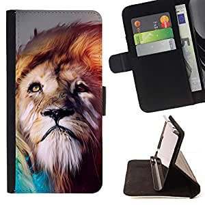 Jordan Colourful Shop - Dreamy Lion Art For Apple Iphone 4 / 4S - Leather Case Absorci???¡¯???€????€??????????&fnof