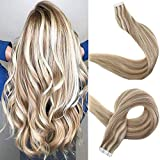 Easyouth Highlight Extension Human Hair 20' 50g 20Pcs Per Package Colour 10 Highlight with 613 Tape in Hair Extensions Hair Tape Adhesive