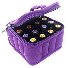 Hengker Essential Oil Carrying Case,Hengker Portable Makeup Cosmetic Bag Travel Case Holds Fit 16 bottles of 5ml 10ml and 15ml Roller Bottle (16, Purple)