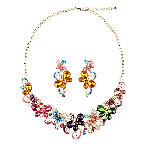 - Hamer Collar Costume Jewelry Crystal Choker Pendant Statement Chain Charm Necklace and Earrings Sets Women (7#)