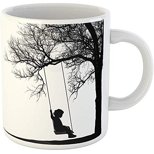 (Funny Gift Coffee Mug Black Child Little Girl on Swing Under Tree Realistic Silhouette of Swinging Sitting 11 Oz Ceramic Coffee Mug Tea Cup Souvenir)
