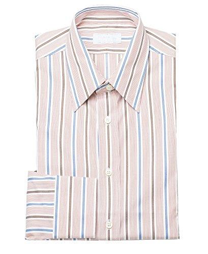 Prada Men's Spread Collar Pinstripe Cotton Dress Shirt - Dress Prada Red