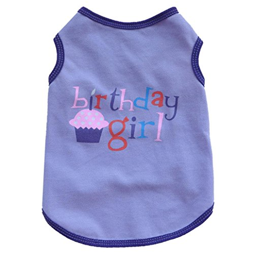 haoricu Puppy Clothes, Summer Pet Dog Cat Clothing Boy Girl Birthday Vest T Shirt (XS, Purple)