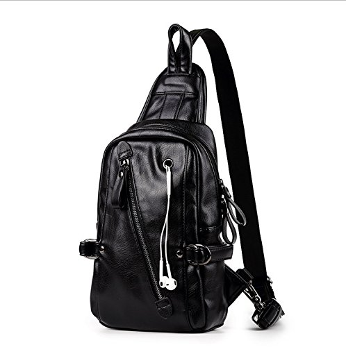 T-FBW Men's handbag Nuevo bolso de pecho - PU masculino de la manera coreana bolso de mensajero pecho ocio viajes cuero de la pu hombro diagonal mochila