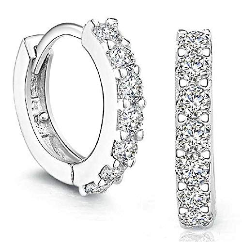 Celiy Sterling Silver Rhinestones Hoop Diamond Stud Earrings for Women (As Show)