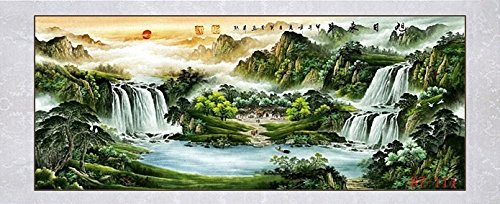 "Large Size Feng Shui Painting Treasure Basin,Hand Mounted Wall Scroll Painting Ready to Hang, Office Living Room Decoration Attract Wealth and Good Luck (95""x 40"")"