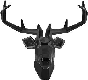 YJ Home Deer Head Wall Mount - Black Stag Head Wall Sculpture Faux Taxidermy Resin Deer Animal Head(Large, Black Deer 1) … …